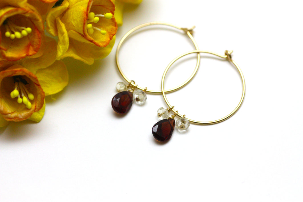 Garnet and Citrine Hoop Earrings in Gold