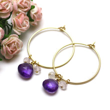Amethyst and Pink Quartz Hoop Earrings in Gold