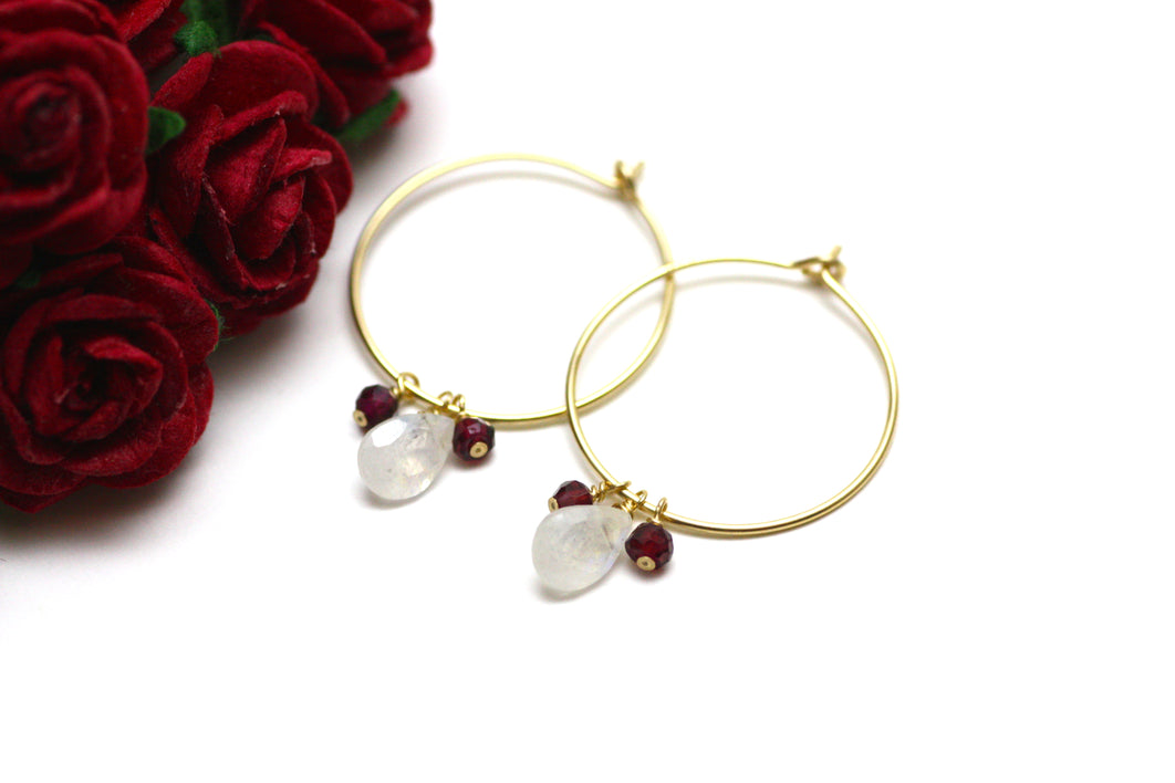 Moonstone and Garnet Hoop Earrings in Gold