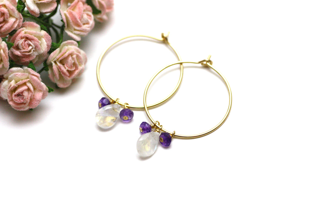 Moonstone and Amethyst Hoop Earrings in Gold