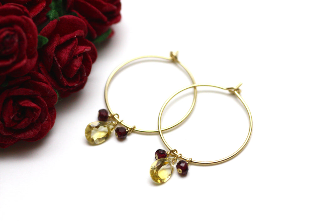 Citrine and Garnet Hoop Earrings in Gold