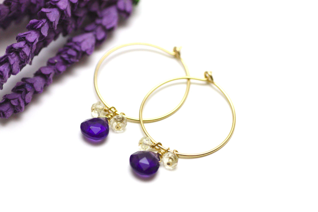 Amethyst and Citrine Hoop Earrings in Gold