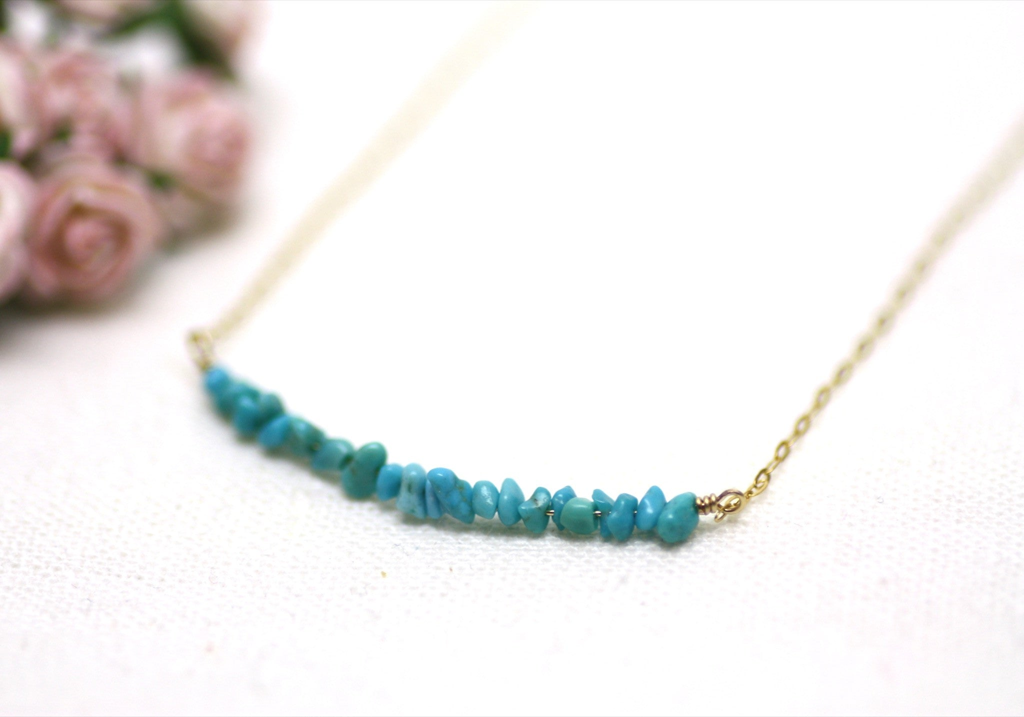 Turquoise Bar Necklaces in Gold — P'tite Jolie