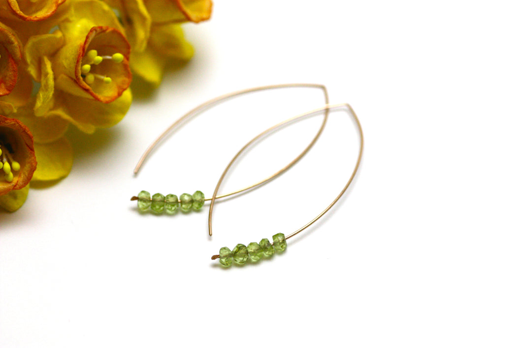 Peridot Marquise Earrings in Rose Gold