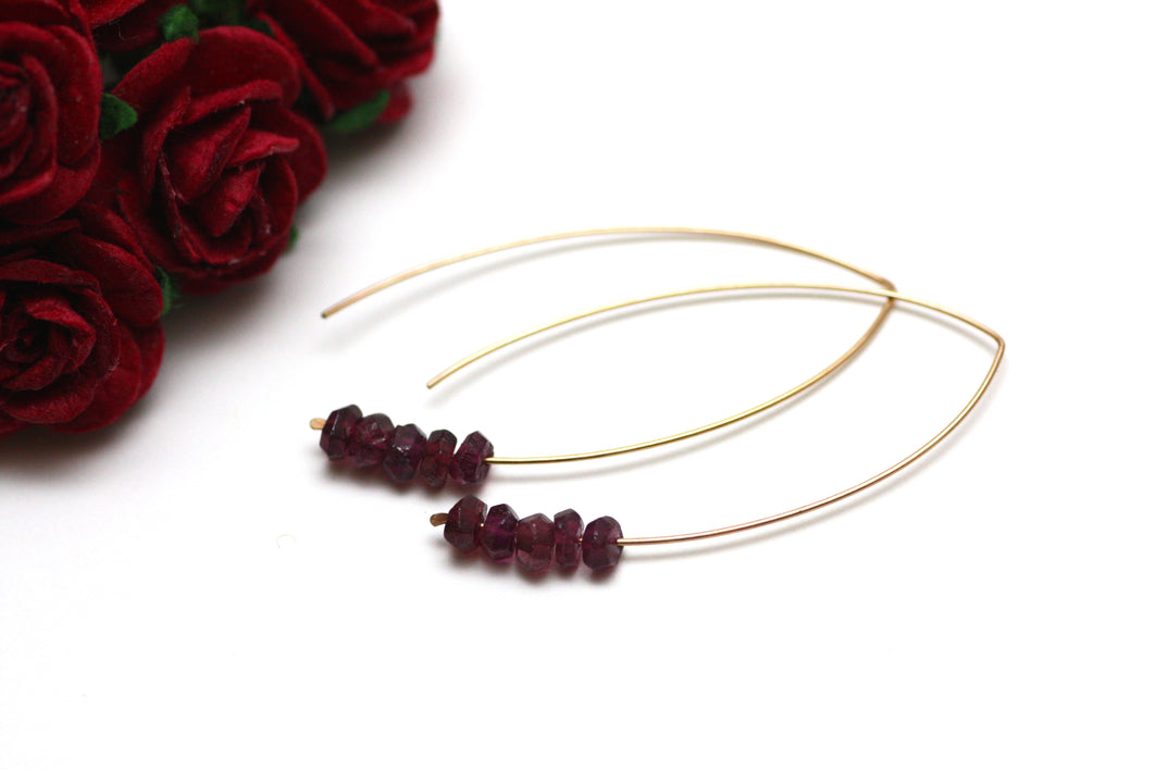 Garnet Marquise Earrings in Rose Gold