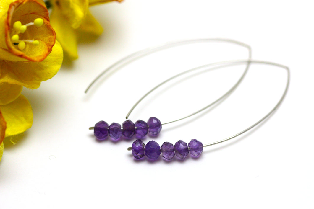Amethyst Marquise Earrings in Silver