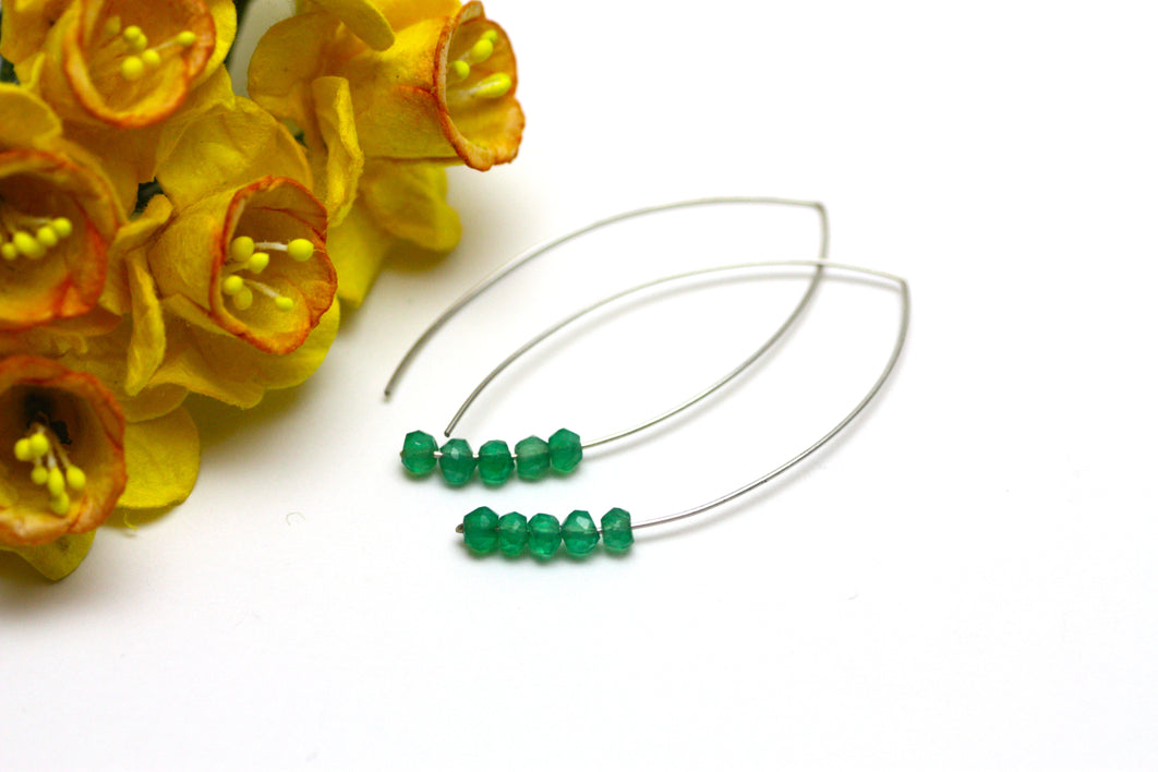 Green Onyx Marquise Earrings in Silver