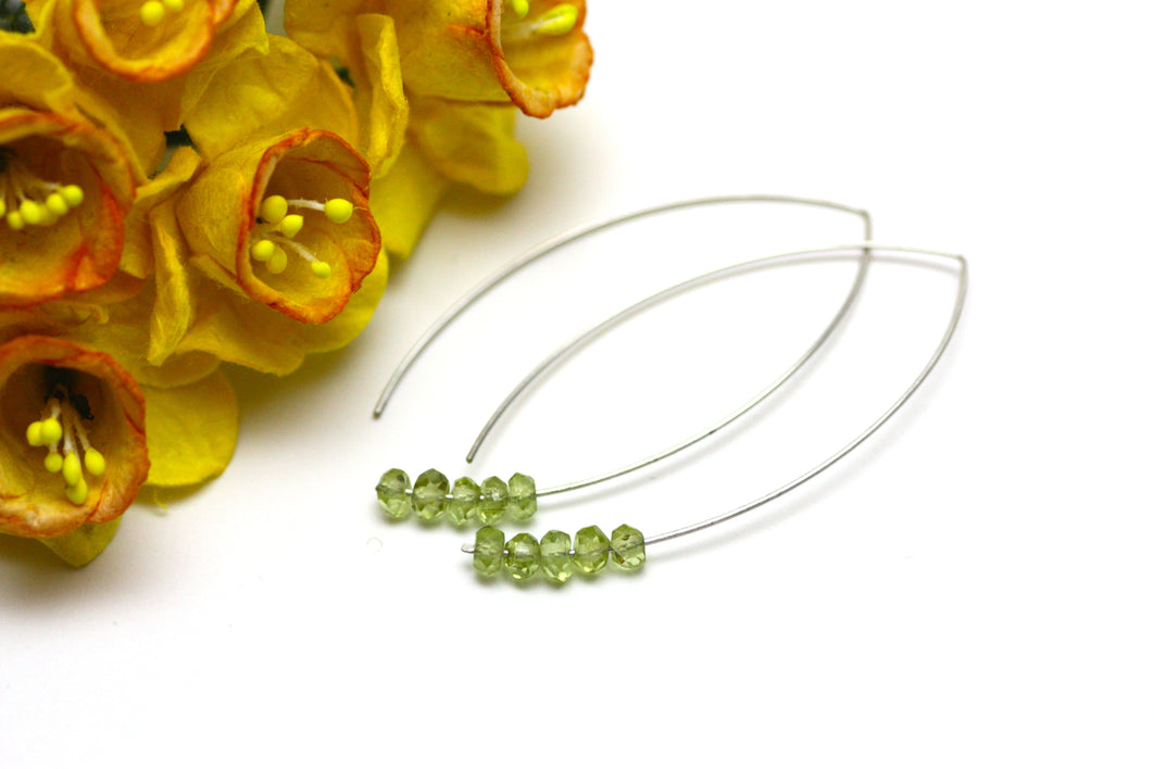 Peridot Marquise Earrings in Silver