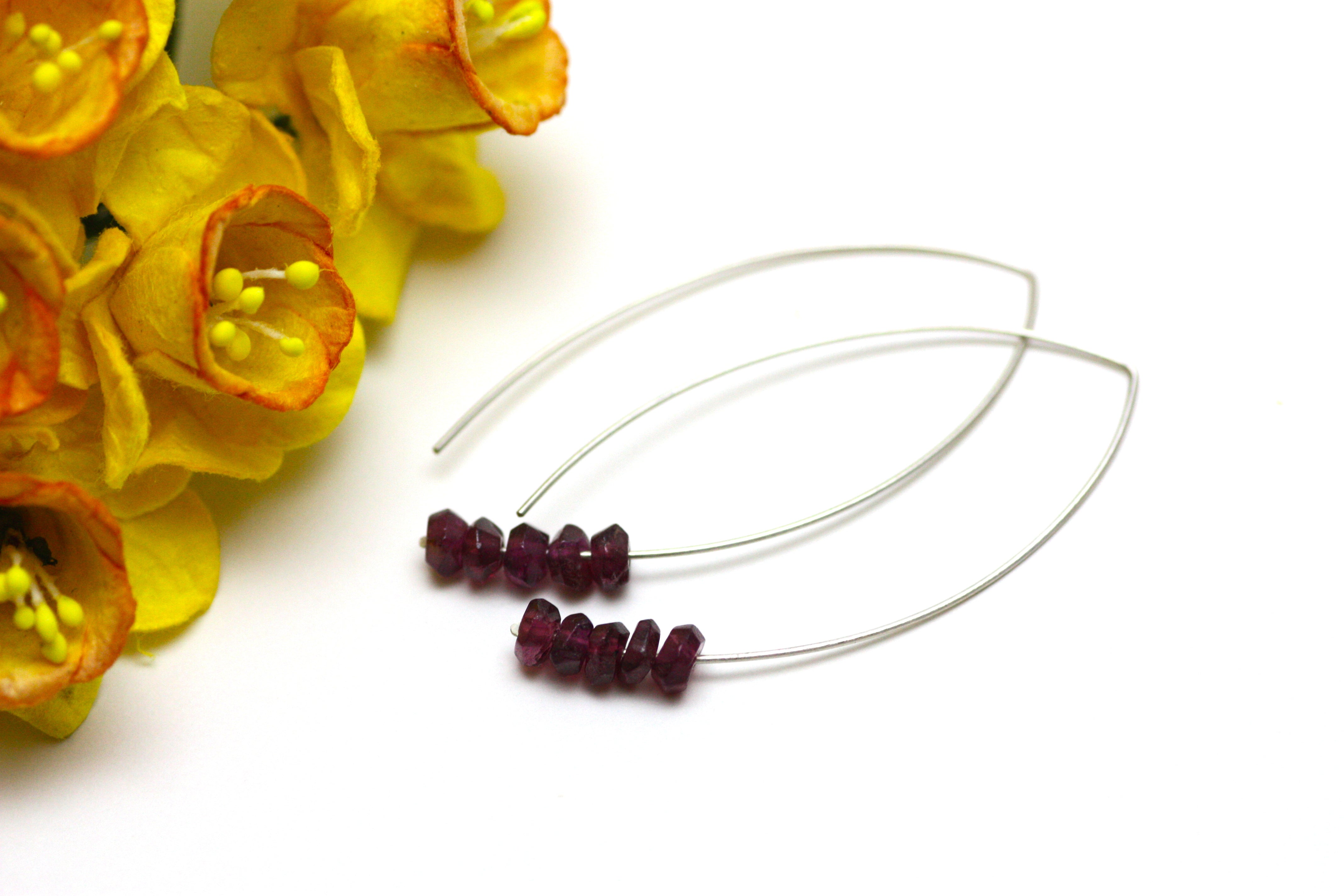 Garnet Marquise Earrings in Silver