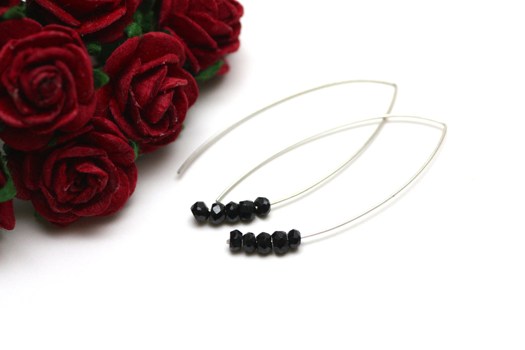 Black Spinel Marquise Earrings in Silver
