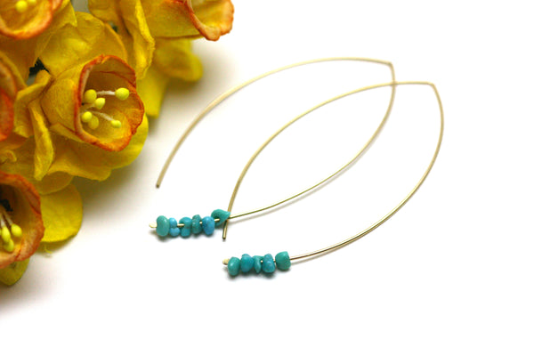 Turquoise Marquise Earrings in Gold
