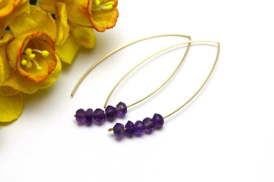 Amethyst Marquise Earrings in Gold