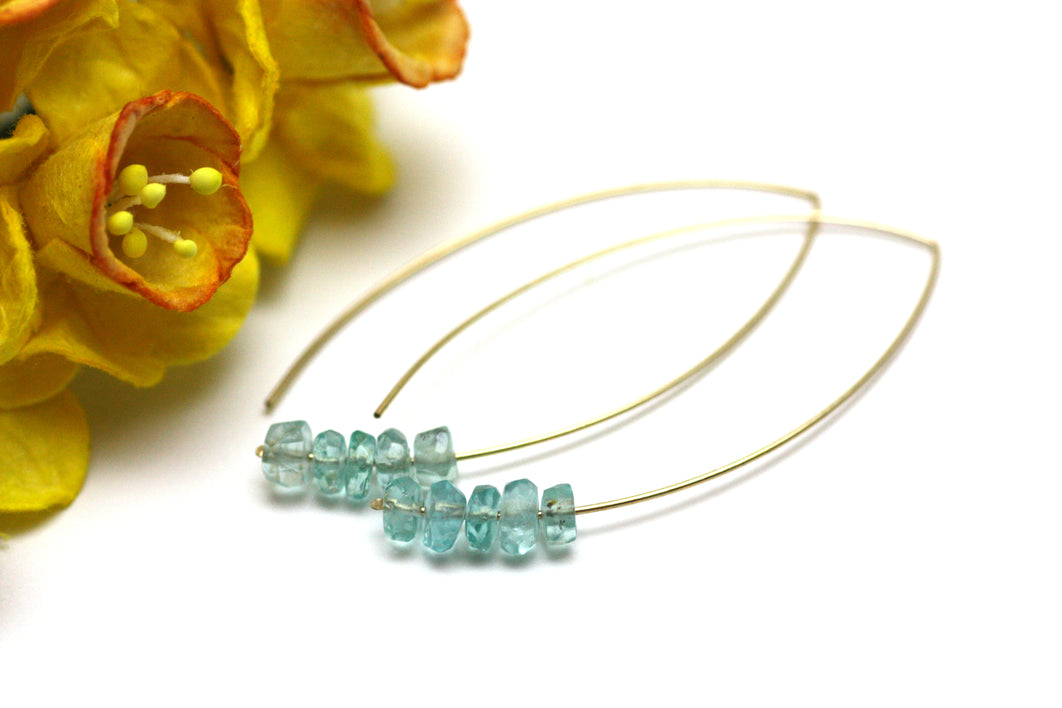 Blue Apatite Marquise Earrings in Gold