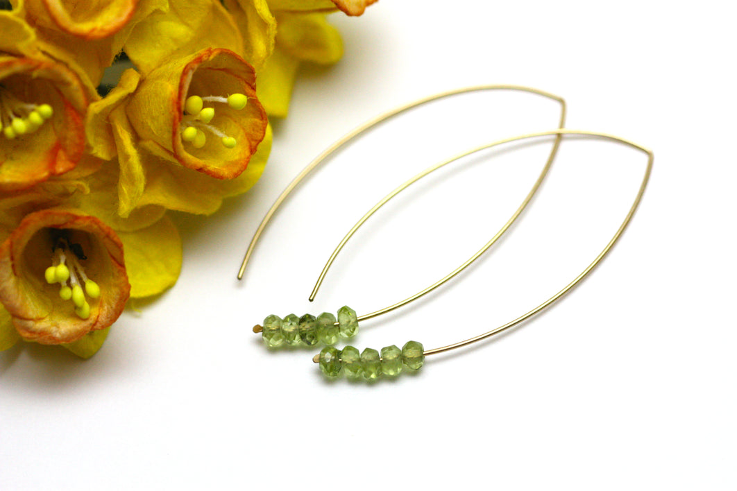 Peridot Marquise Earrings in Gold