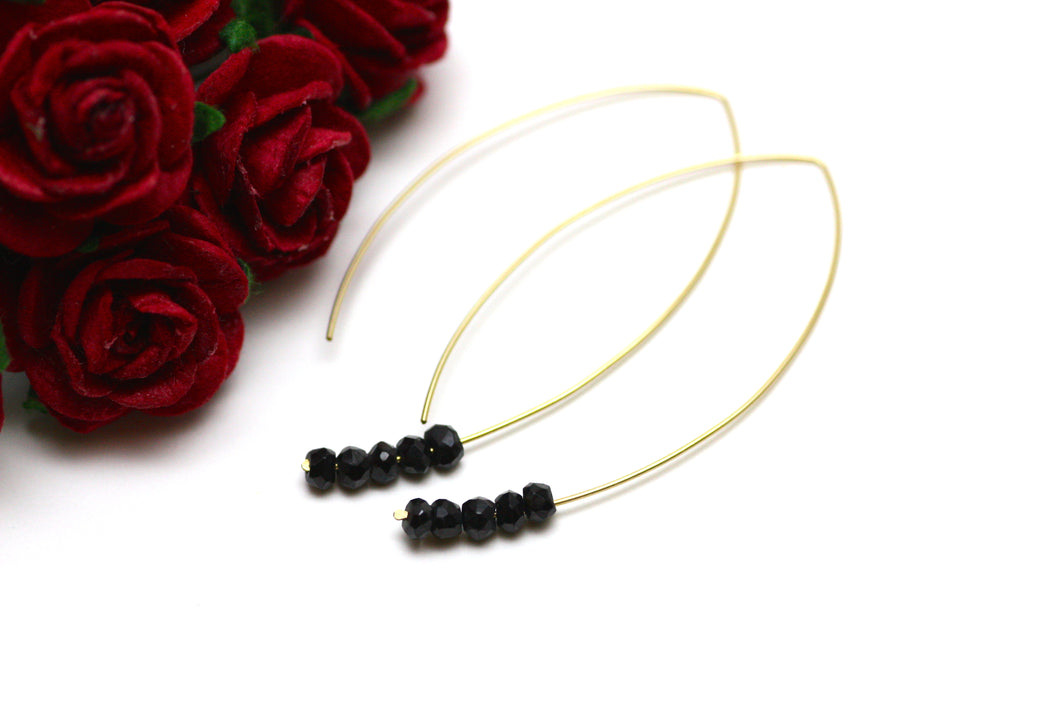 Black Spinel Marquise Earrings in Gold