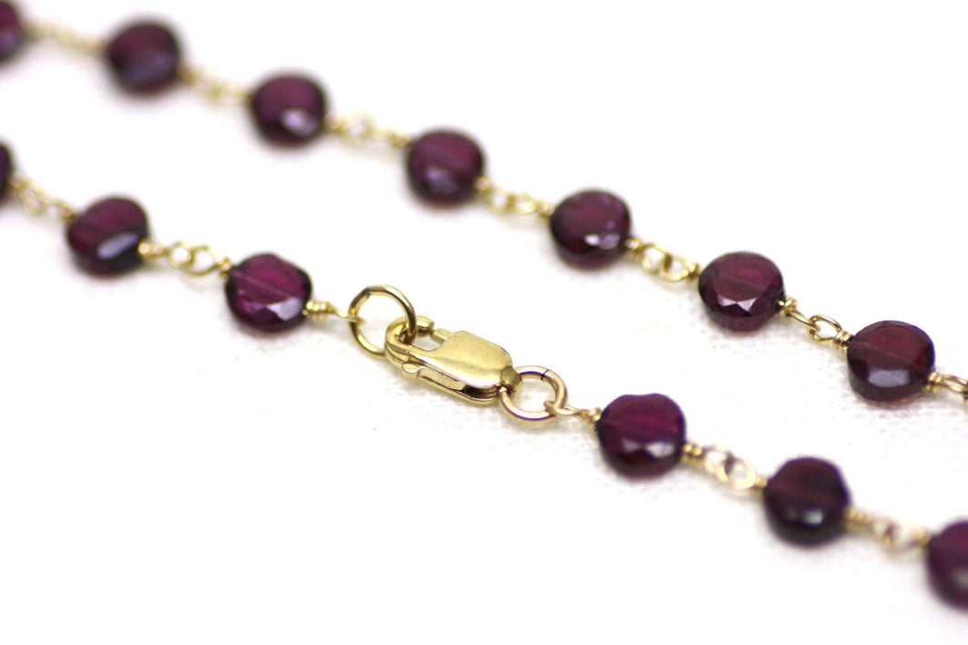 Garnet Bracelet in Wire Wrapped Gold