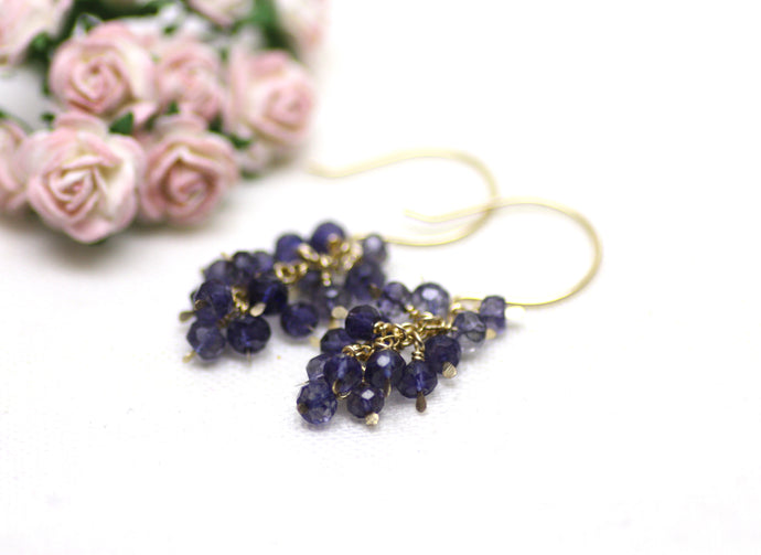 Blueberry Iolite Cluster Earrings
