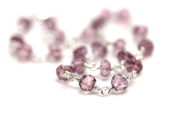 sterling silver wire wrapped bracelet with pink quartz