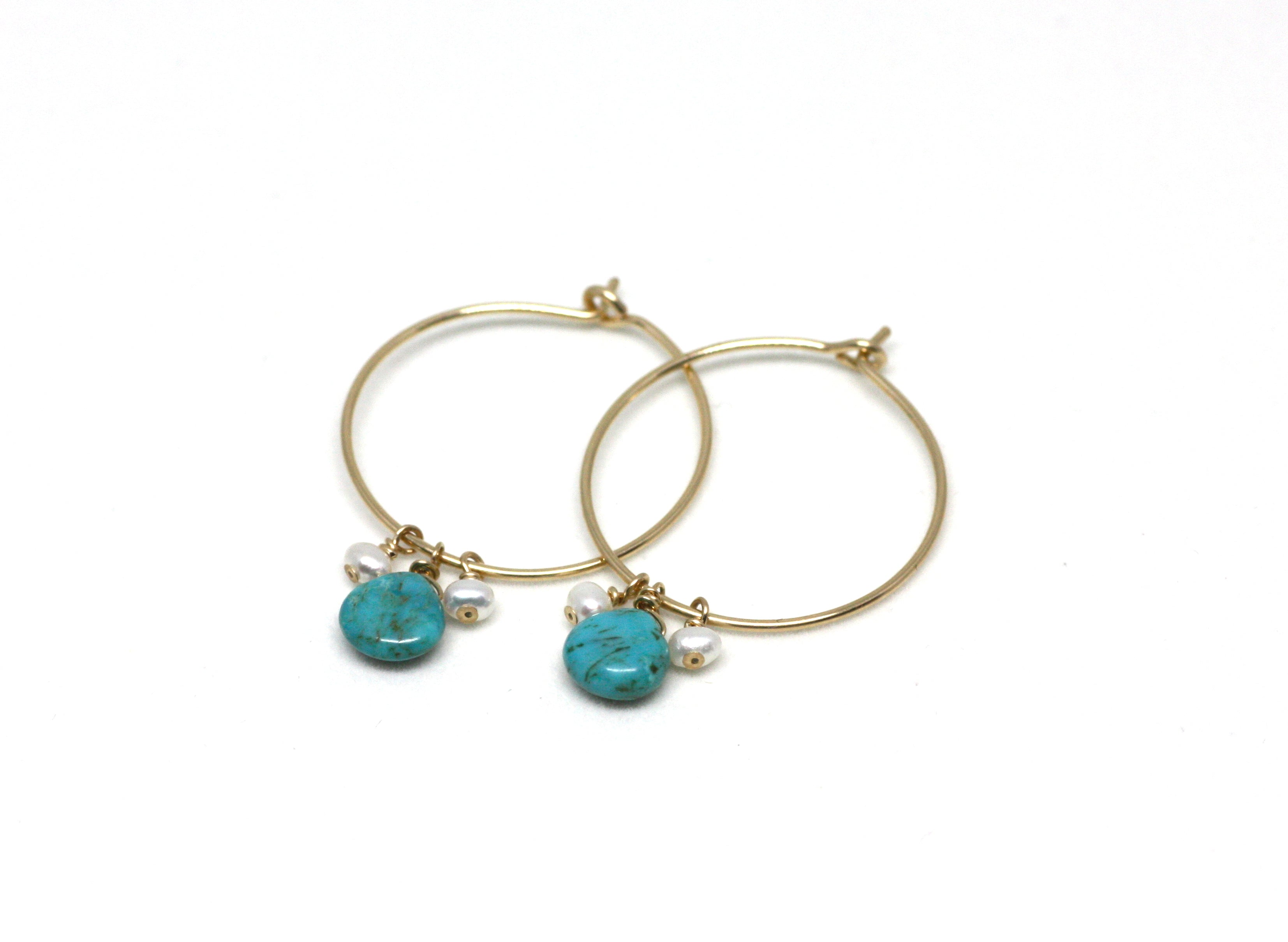 Turquoise and Pearl Hoop Earrings in Gold