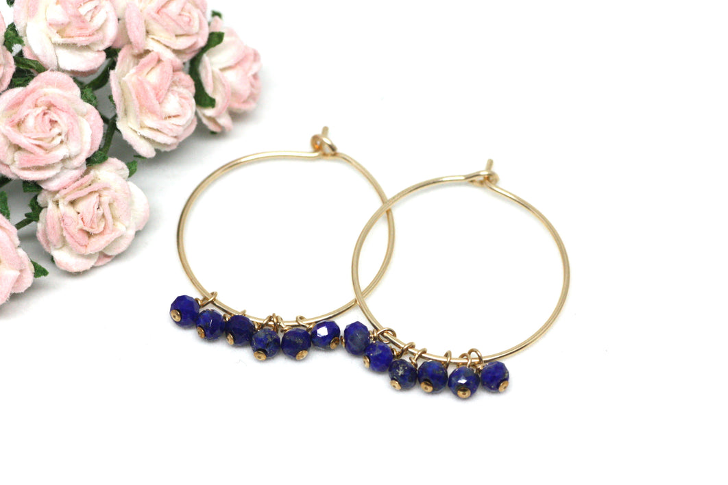 Lapis Lazuli Hoop Earrings in Gold