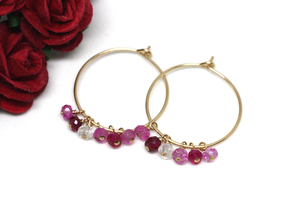 Ruby Hoop Earrings in Gold