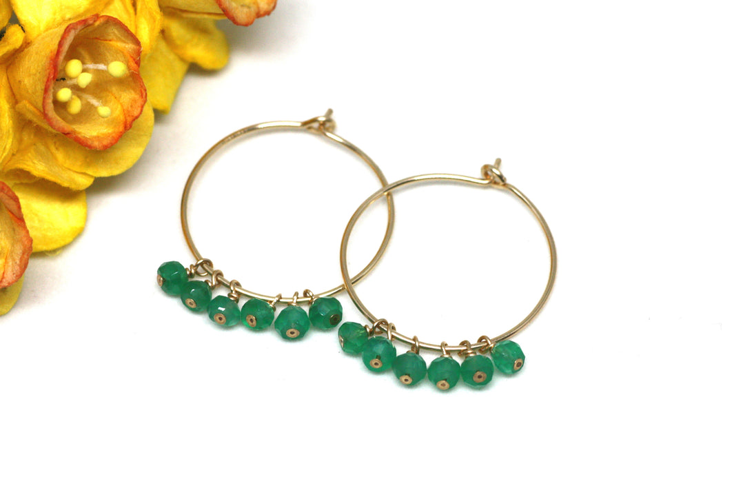 Green Onyx Hoop Earrings in Gold
