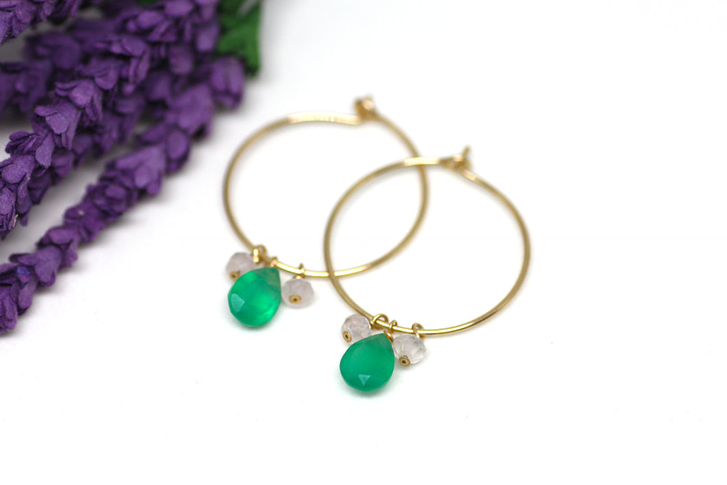 Green Onyx and Pink Quartz Hoop Earrings in Gold