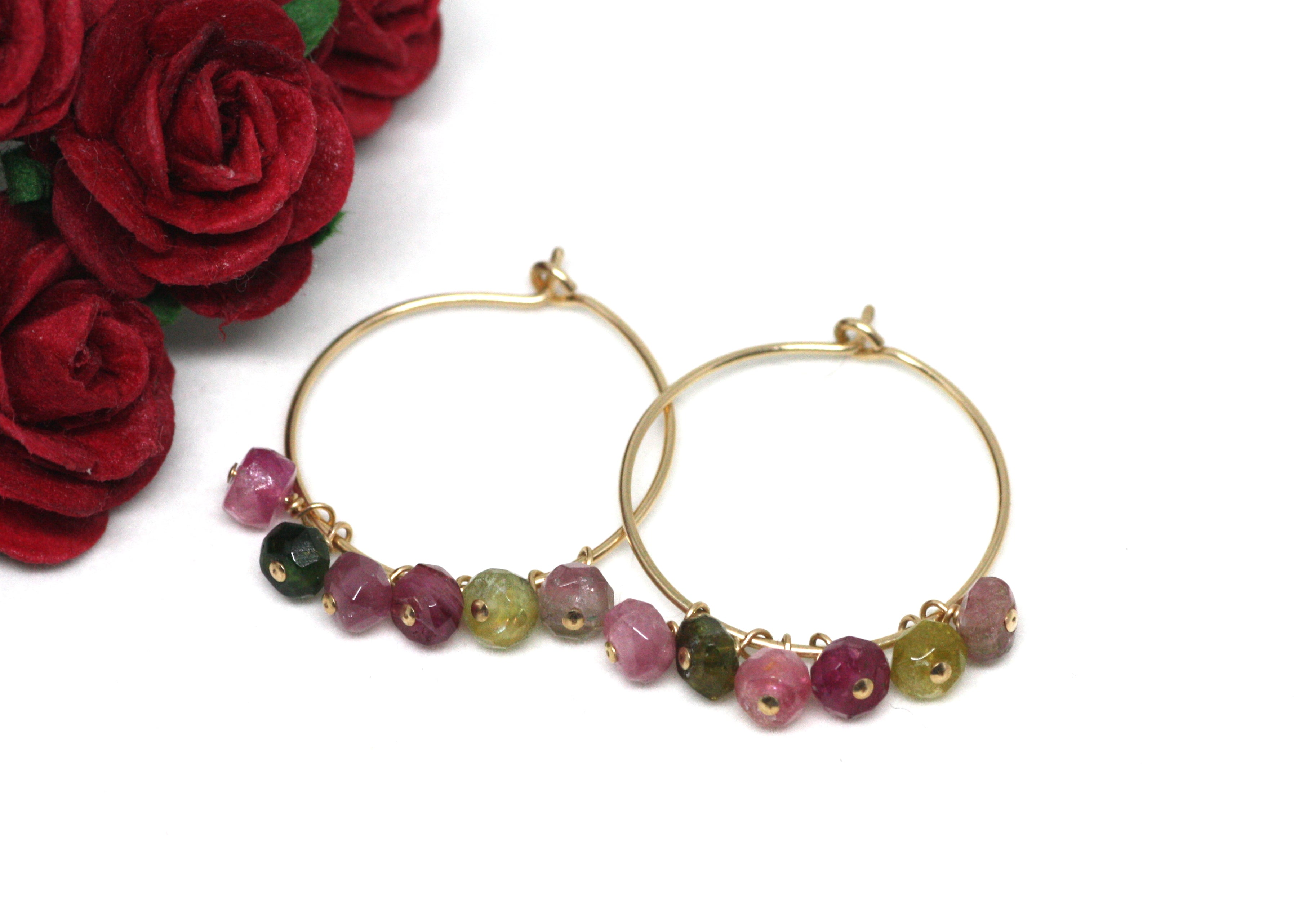 Watermelon Tourmaline Hoop Earrings in Gold