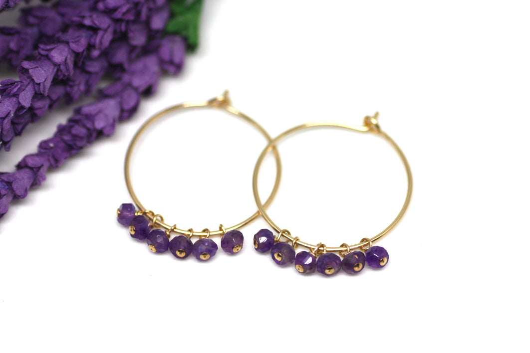 Amethyst Hoop Earrings in Gold