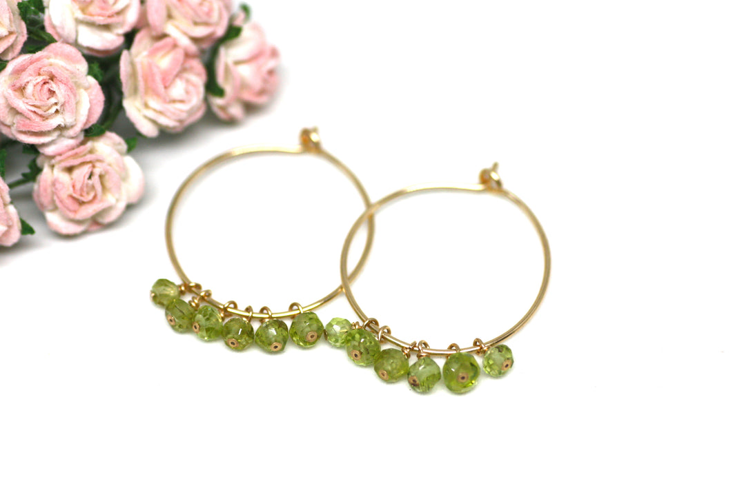 Peridot Hoop Earrings in Gold