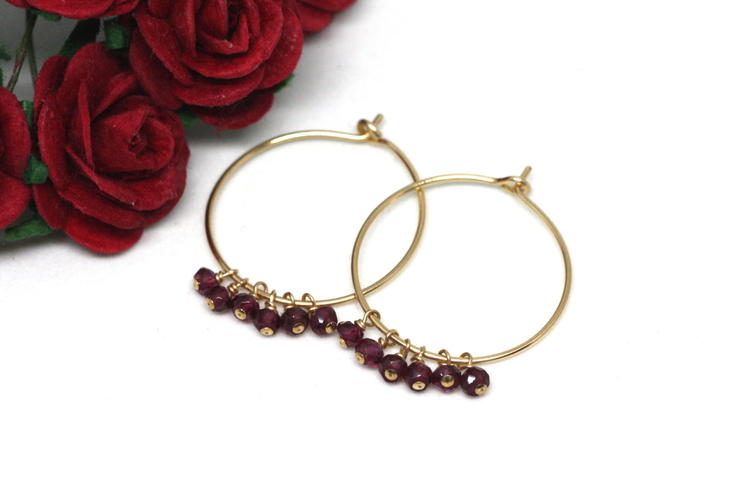 Garnet Hoop Earrings in Gold