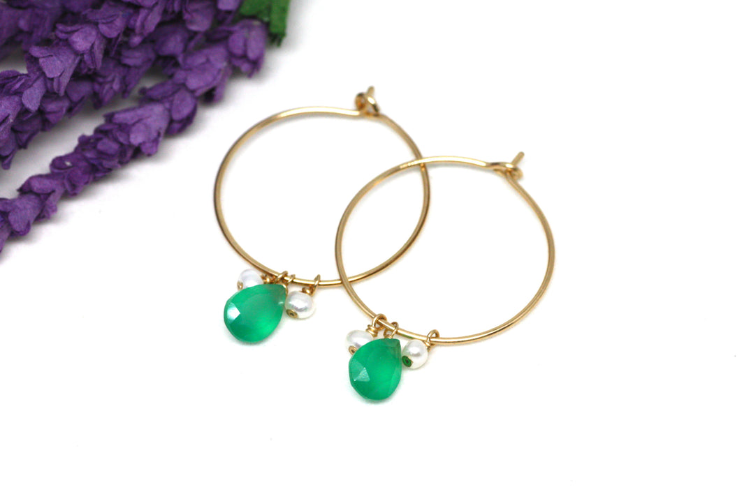 Green Onyx and Pearl Hoop Earrings in Gold