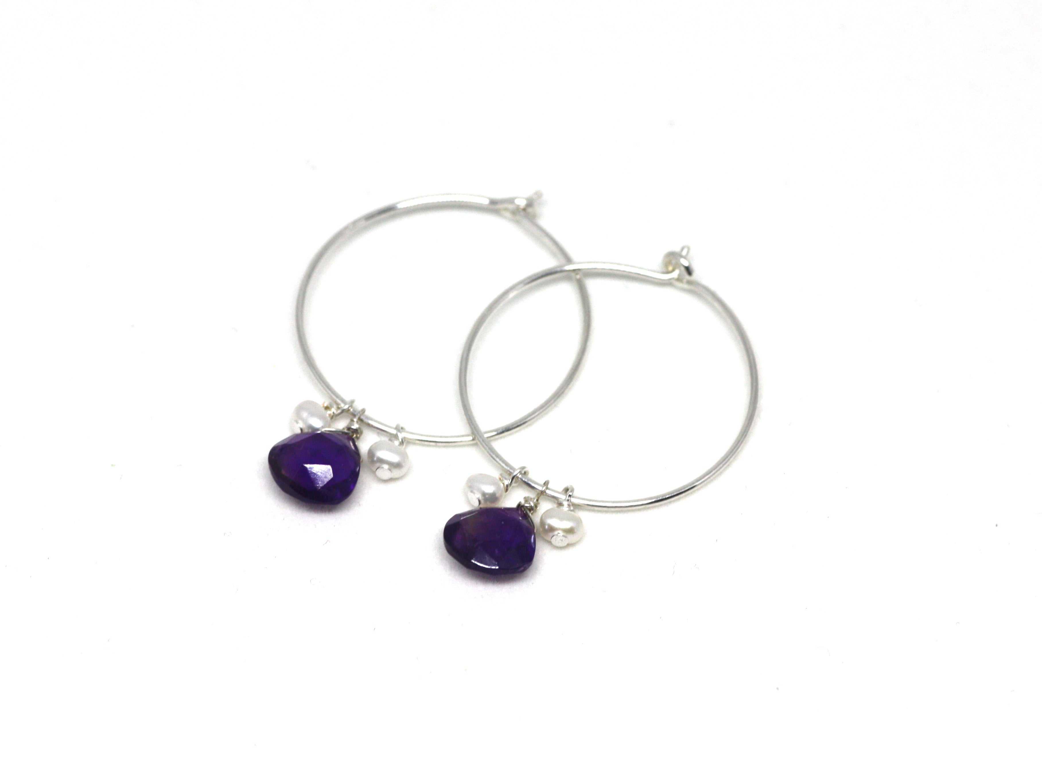 Sterling Silver and Teardrop Gemstone Hoop Earrings CLEARANCE