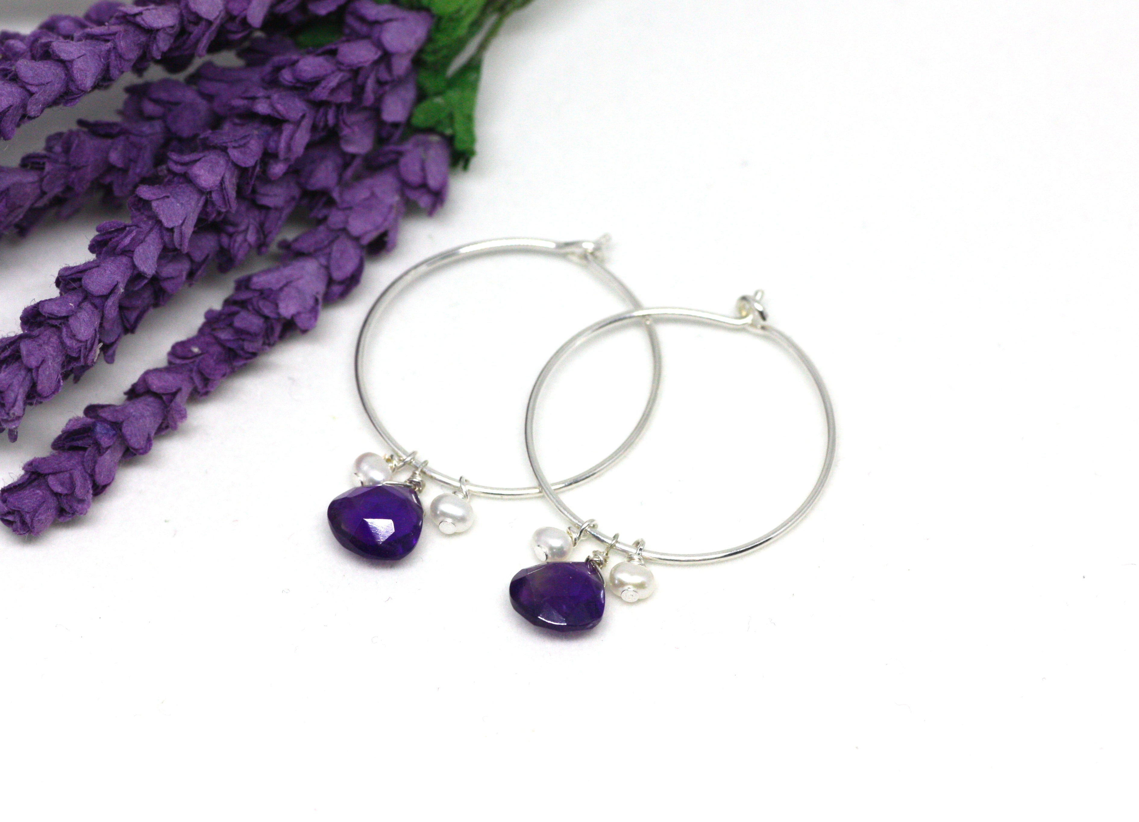 Amethyst and Pearl Hoop Earrings in Silver