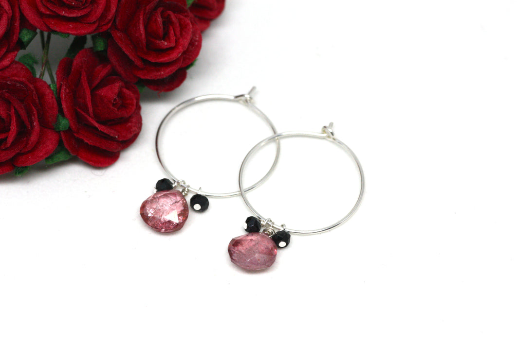 Pink Quartz and Black Spinel Hoop Earrings in Silver
