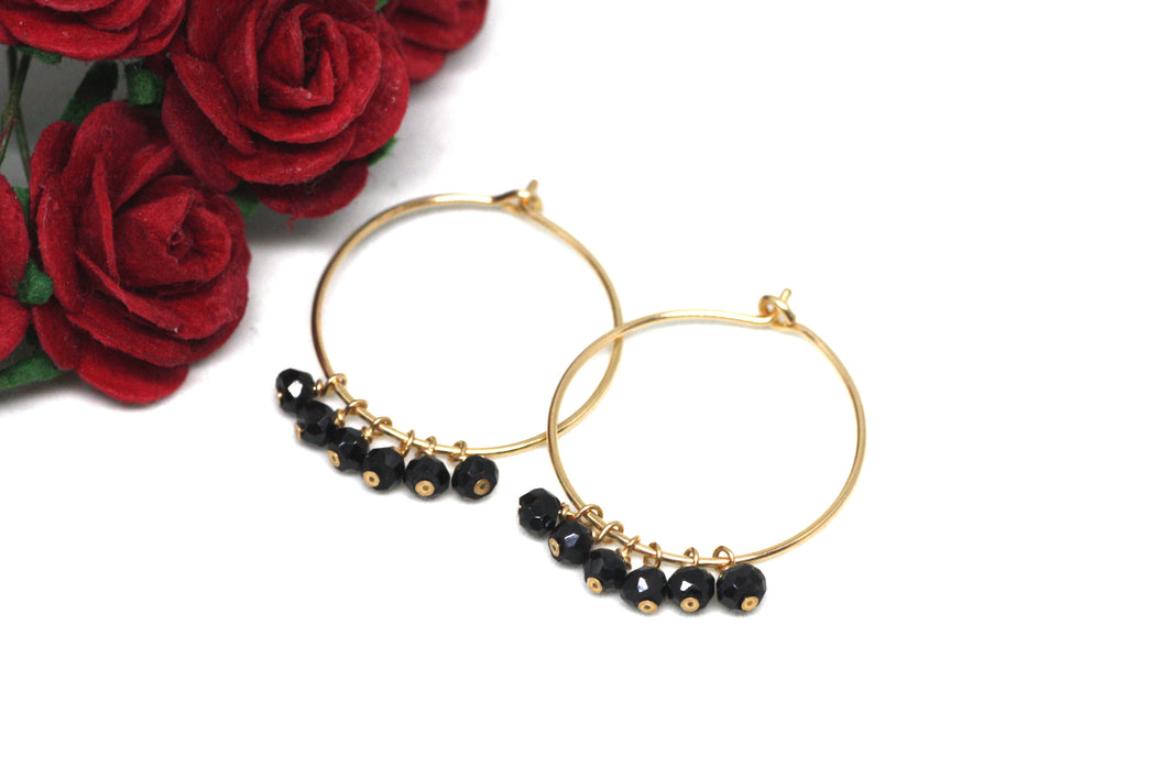 Black Spinel Hoop Earrings in Gold