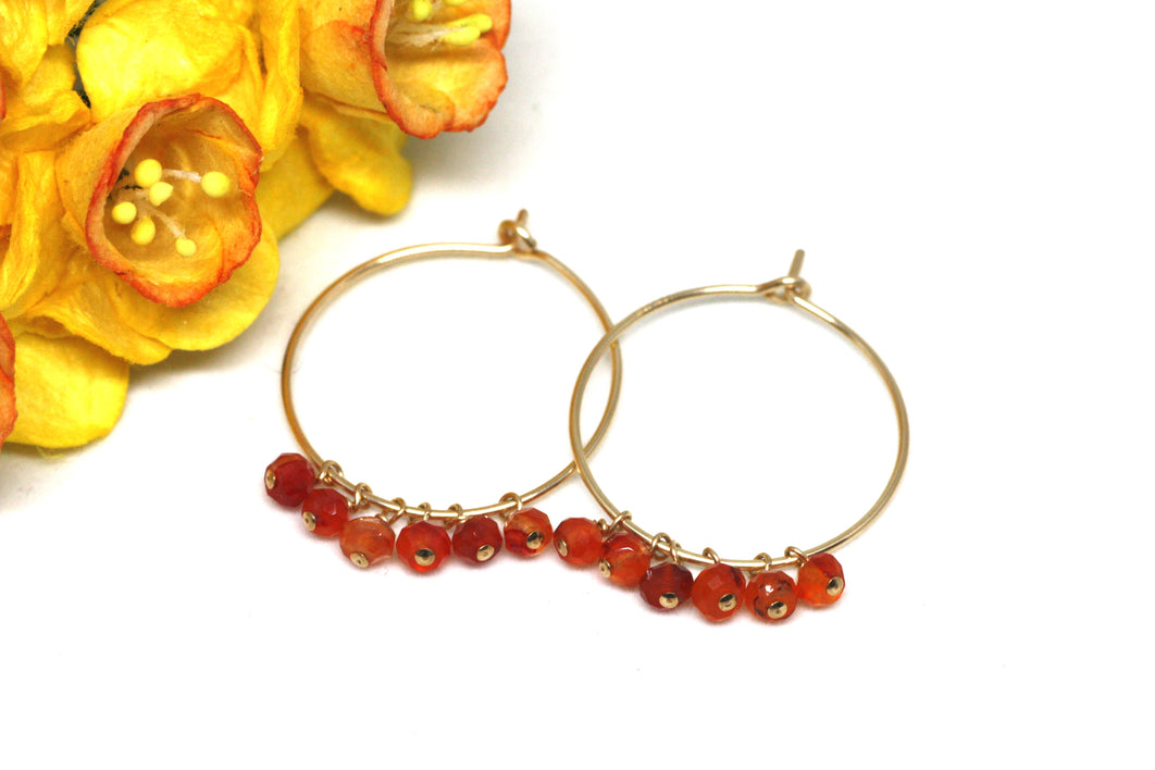 Carnelian Hoop Earrings in Gold