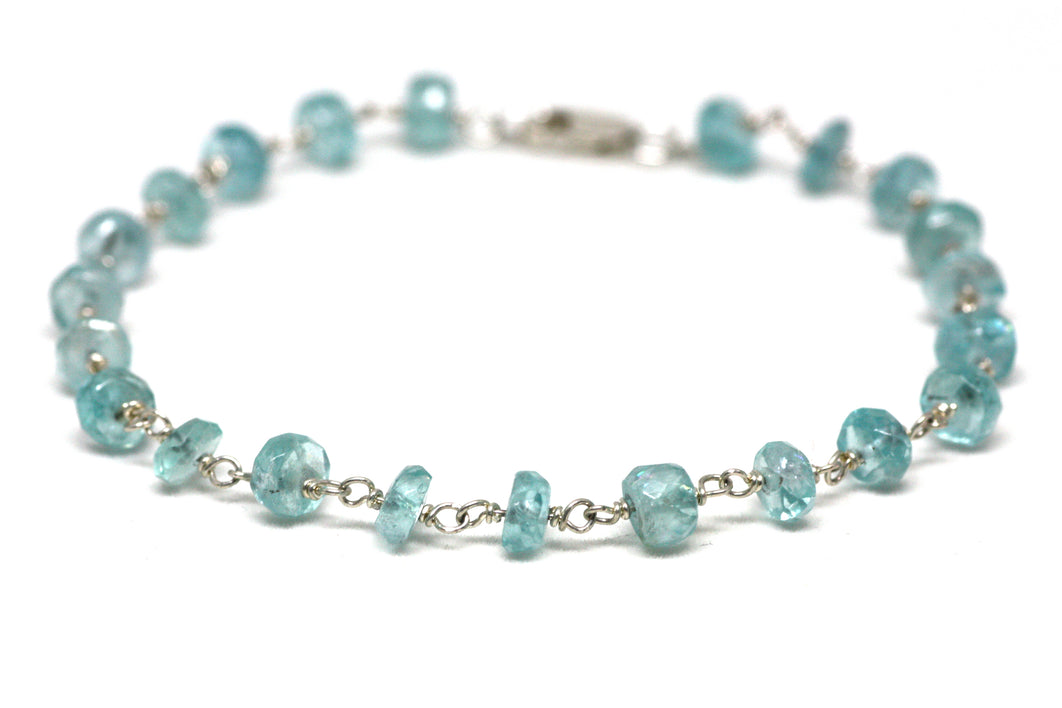 Blue Apatite Bracelet in Wire Wrapped Silver