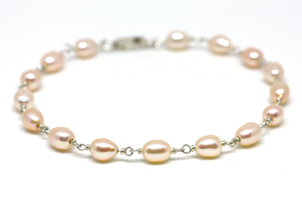 Light Peach Pearl Bracelet in Wire Wrapped Silver