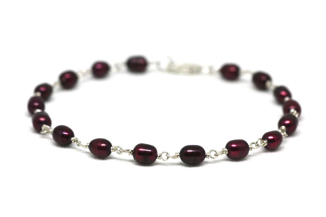 Crimson Red Pearl Bracelet in Wire Wrapped Silver