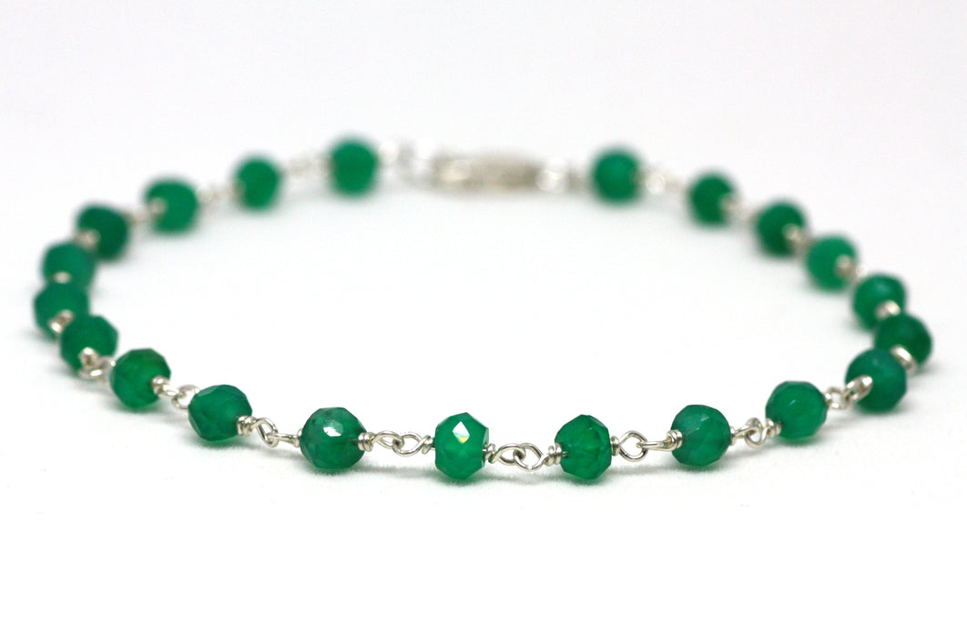 Green Onyx Bracelet in Wire Wrapped Silver