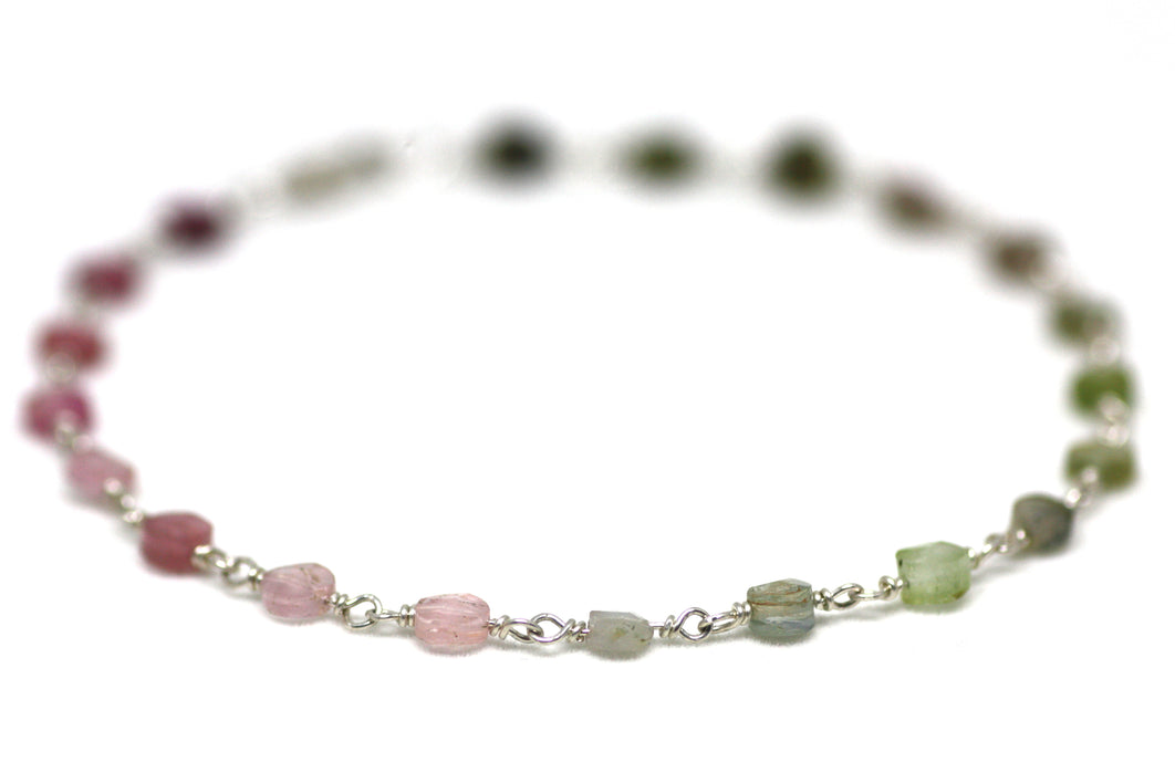 Watermelon Tourmaline Bracelet in Wire Wrapped Silver