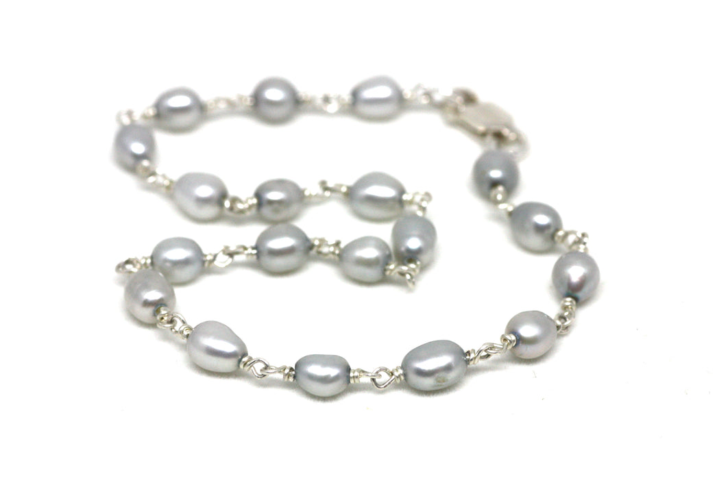 Light Grey Pearl Bracelet in Wire Wrapped Silver