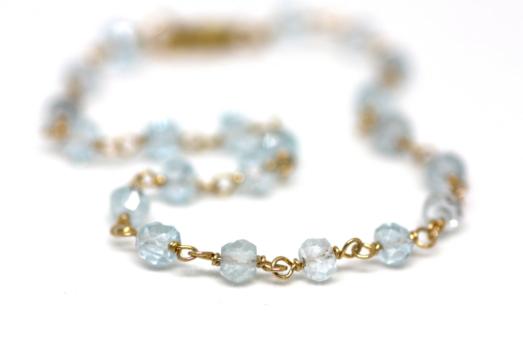 London Blue Topaz Bracelet in Wire Wrapped Gold
