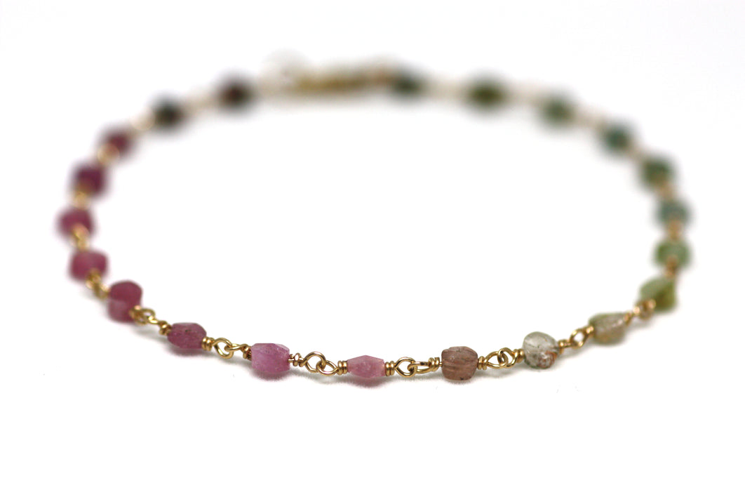 Watermelon Tourmaline Bracelet in Wire Wrapped Gold