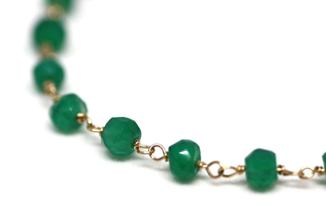Green Onyx Bracelet in Wire Wrapped Gold