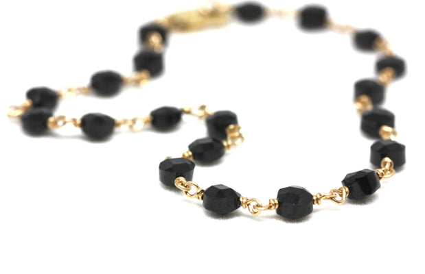 Black Spinel Bracelet in Wire Wrapped Gold