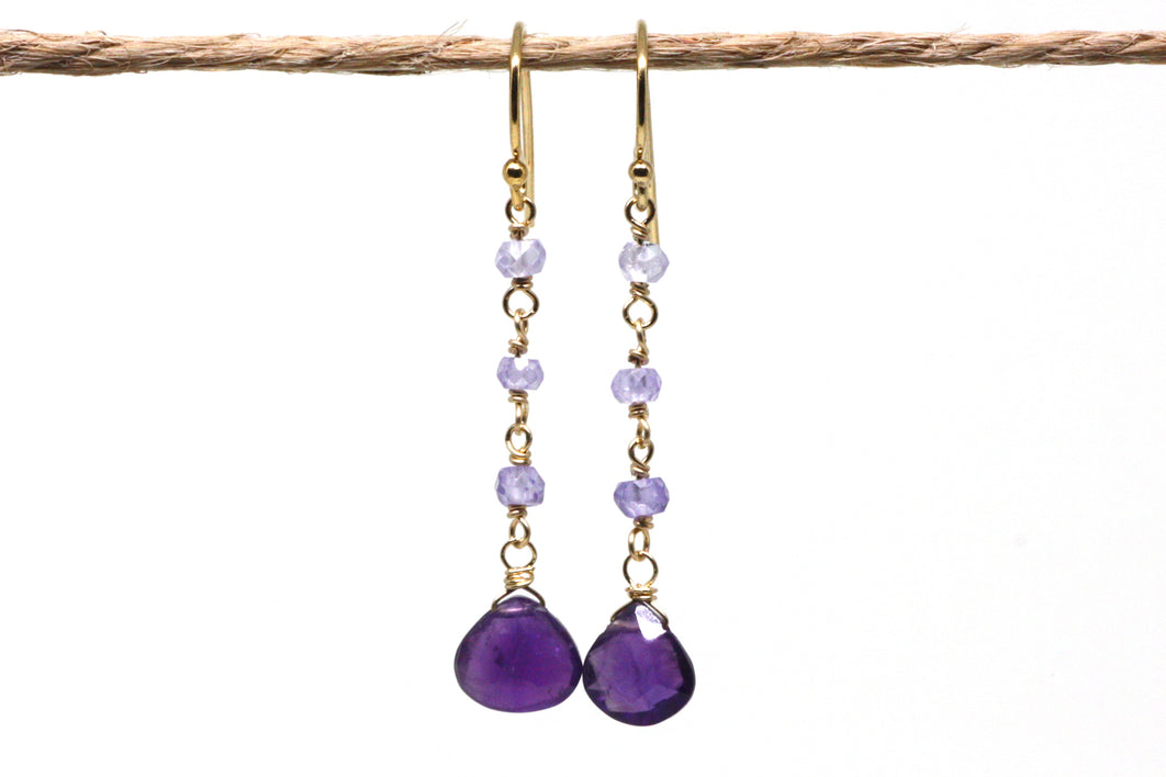 Amethyst Ombré Long Dangle Earrings