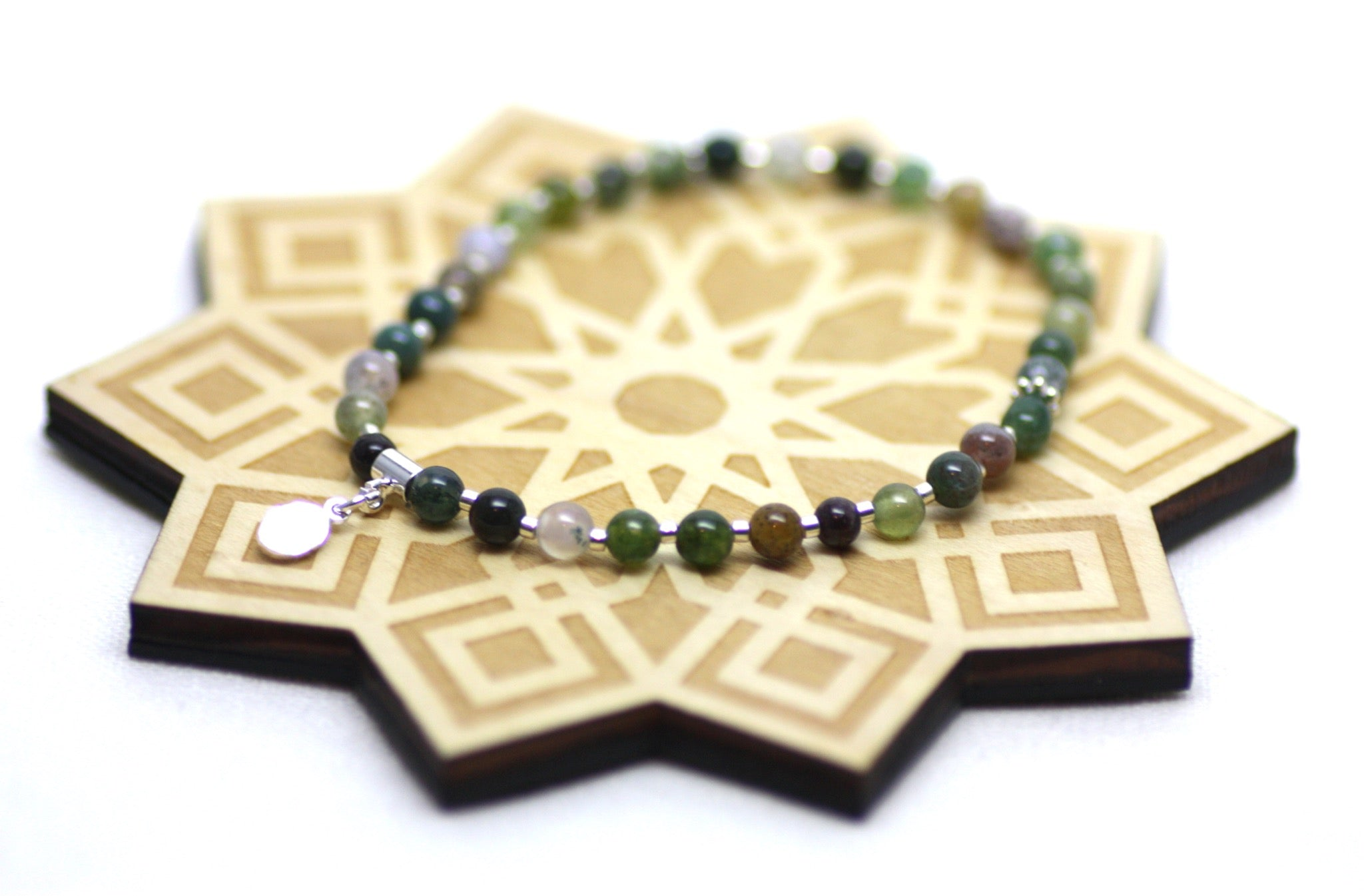 Fancy Jasper and Silver Wrist Tasbih
