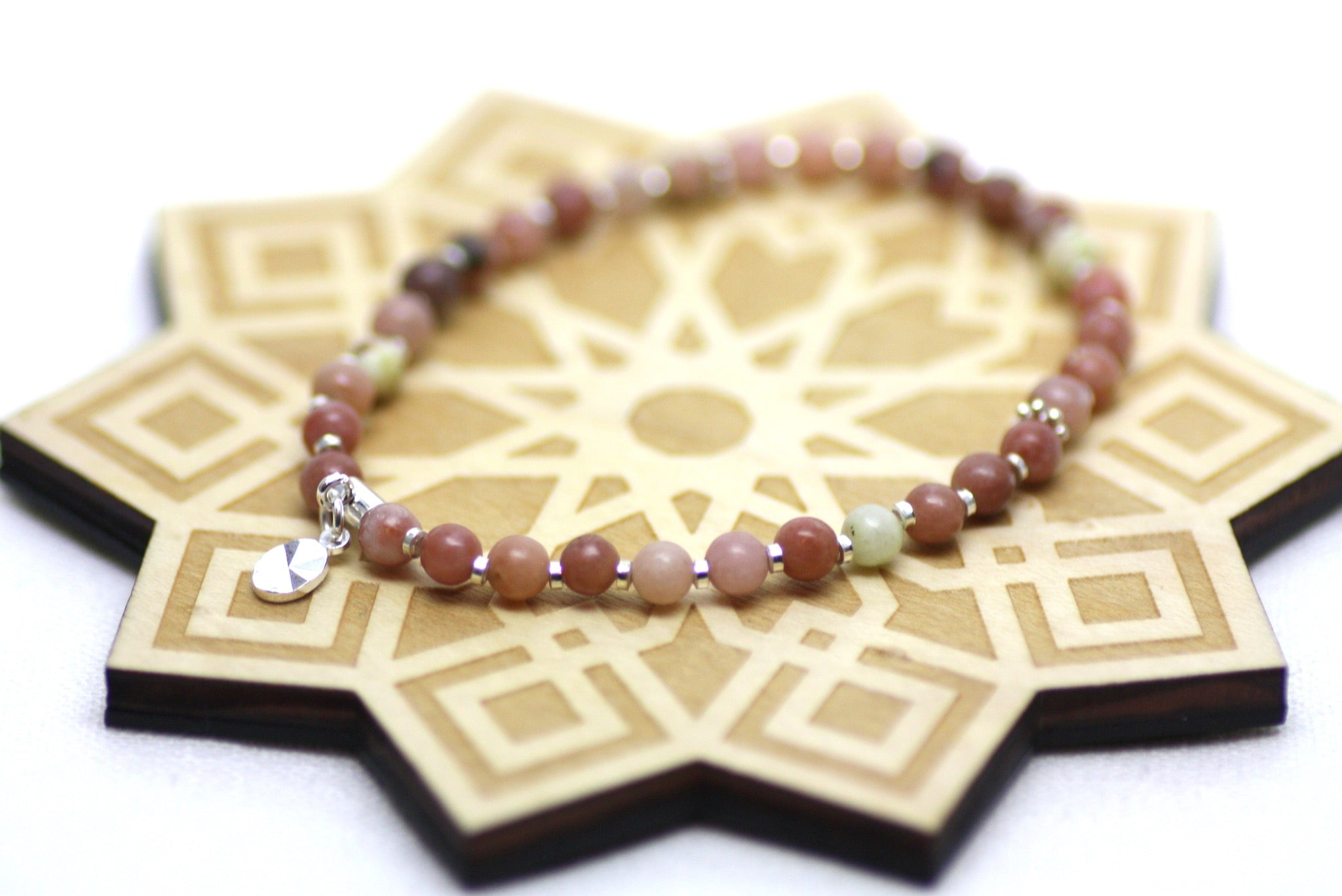 Pink Lepidolite and Silver Wrist Tasbih